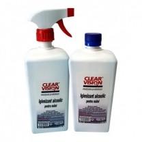 Set Igienizant pentru maini 70% alcool Clear Vision 1L si rezerva 1L